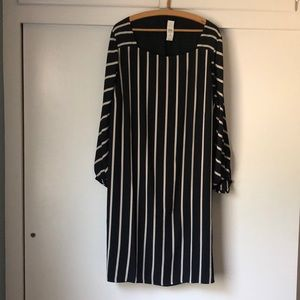 LOFT Square Neck Striped Dress Plus Size 20